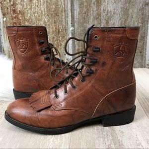 Ariat Kiltie Fringe Lace Up Leather Roper Boot 6.5